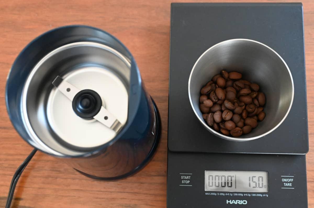 電動コーヒーミル メリタ バリエ・シンプル 使ってみた コーヒー豆を計量